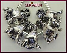 5 Antique Silver Dog Charm Bead for Charm Bracelet / Necklace Ship from USA S075