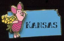 DISNEY COLLECTORS 3D STATE TRADING PIN KANSAS PIG PIGLET FLOWERS NEW ON CARD