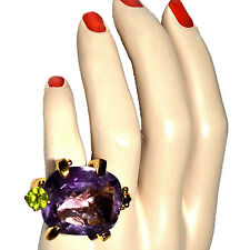 Christian Lacroix Gold Plated Silver Signed Amethyst decorated Turtle Ring