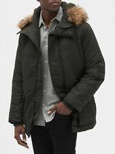 GAP $120 Hooded Parka Jacket NEW with Faux-Fur Trim, Men Size XL Soft BLACK