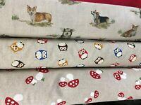 Panama cotton fabric sheep corgi horses 140cm wide craft upholstery clothing