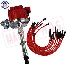 Distributor & HEI Spark Plug Wires Set 90 For Chevy SBC BBC 400 383 350 454 V8