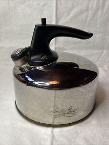 VTG Revere Ware Copper Bottom 1 Qt. Stainless Steel Whistling Tea Kettle G02H
