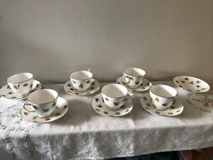 Crown Stafford Shire Fine Bone China  Flower Design Tea Cup  Saucer England lot