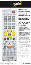"""Infrarot-Universal-Fernbedienung """"10 in 1"""" bis zu 10 Geräte Heitech TV DVD SAT"""