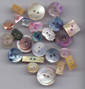24 vintage shell buttons- mixed colours