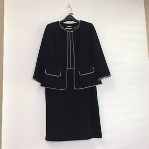 Talbots Italian Luxe Knit Black with White Piping Dress Suit 14W NWT