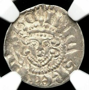 ENGLAND. Henry III. 1216-1272. Silver Penny, S-1369, Canterbury, NGC AU58