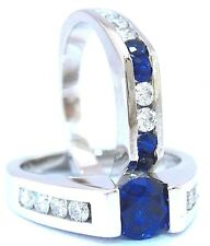 14K WHITE GOLD ROUND SAPPHIRE DIAMOND TENSION ENGAGEMENT RING AND BAND 2.15CTW