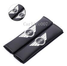 2PCS Carbon Fiber Car Seat Belt Cover Pad Shoulder Cushion Embroidery for Mini