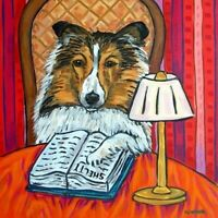 shetland sheepdog sheltie reading dog art tile coaster