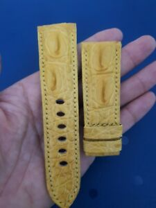 YELLOW CROCODILE ALLIGATOR LEATHER WATCH STRAP BAND 26mm/22mm (Any sizes)