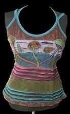 Gothic Pagan Wicca PSY Goa Camiseta Top Feliz SETA Ripp - óptica 40 42 NUEVO