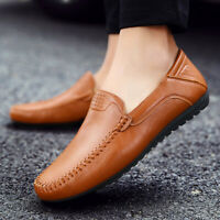 US Fashion Men's Shoes Leather Hand Stitching Casual Driving Moccasins Leisure