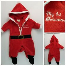 Baby Infant 0 To 3 Months Red Footed Plush Santa Sleeper My 1st Christmas Hood