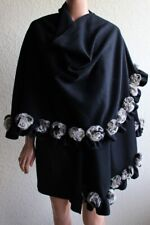 Boho Chic Black Batwing Poncho Cape Coat Jacket Wool Rabbit Hair Pom Pom Balls