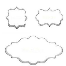 3pcs Plaque Frame Stainless Steel Cutter Fondant Cake Cookie Mold Mould Set New