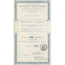 OFFICINE MACCAFERRI 2 AZIONI MILANO 1957