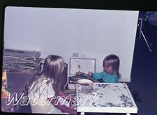 1972  35mm Photo slide  girls playing with Red Raven Movie Records player A