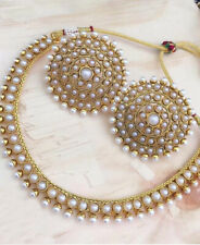 Indian Bollywood Copper Necklace Earing Wedding Gold Plated White  Jewelry Party