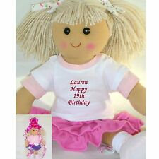 Personalised Birthday Rag Doll Gift 1st 13th,18th etc FREE GIFT WRAP