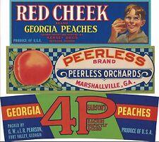 """(3) RARE OLD ORIGINAL """"RED CHEEK*PEERLESS*PEARSON'S 4P"""" PEACH LABELS ART GEORGIA"""
