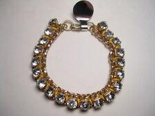 "1 CT. sized Clear Rhinestone Raised Goldtone Bracelet - very pretty - 7"""