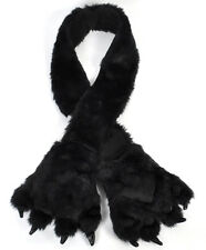 Black Wolf Animal Fur Scarf with Paw Mitten (AHP1020)