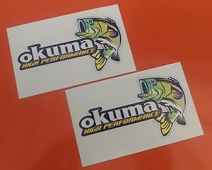 OKUMA BASS FISHING DECAL STICKERS x2  TACKLEBOX/BOAT/KAYAK/CAR/VAN