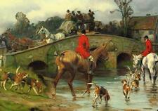 Over the Bridge Fox Hunting Canvas Wall Art Poster Print Painting Horses Dogs