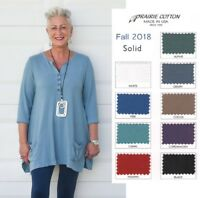 PRAIRIE COTTON 8766 FLARE HENLEY TUNIC HEAVY Pocket Long Top S M L XL  FALL 2018