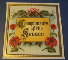 Original Old Antique - COMPLIMENTS OF THE SEASON - Outer CIGAR LABEL - CHRISTMAS