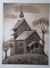Louis TOFFOLI - Paysage à l'église - Lithographie signée #1971