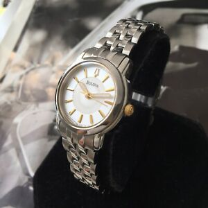 Ladies Bulova Dress Watch Quartz Silver Dial Steel Bracelet 98L167 Genuine