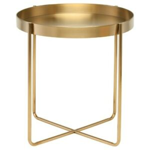 "22"" Side Table Gold Brushed Stainless Steel Lightweight Slender X Base"