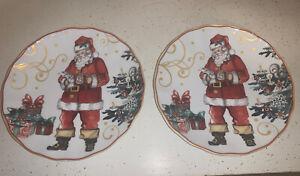 "WILLIAMS SONOMA TWAS THE NIGHT BEFORE CHRISTMAS SALAD PLATES SANTA X2 8 1/2"""