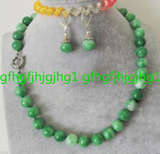 Fashion 10mm Natural Green Jadeite Jade Round Bead Necklace Earring Jewelry Set