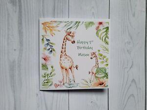 Happy Birthday card, Child's age card, safari animals, personalised