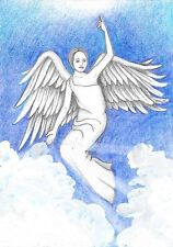 ACEO PRINT OF PAINTING XMAS RYTA ANGEL HEAVENLY SPIRITUAL INSPIRATIONAL HEALING