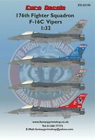 EURO DECALS 176TH FIGHTER SQUADRON F-16C VIPERS DECALS  1:32 SCALE   ED-32126