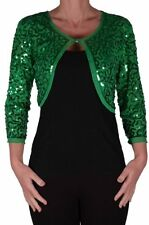 Womens Sequin Chiffon Long Sleeve Tops Bolero Shrugs Crochet Cardigan Tops