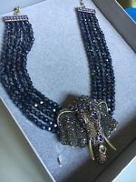 "HEIDI DAUS""Chic Sheik"" (Tanzanite)Beaded Elephant Necklace(Orig.$299.95)"