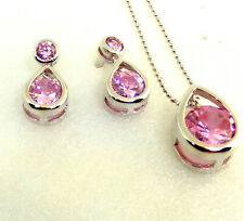 Women White Gold Plated Pink Simulated Diamond Dangle Earrings Necklace Set UK