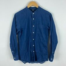 Uniqlo Mens Button Up Shirt Small Super Slim Fit Blue Denim Style Long Sleeve