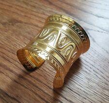 "Gold Tone Metal Cuff Bangle Bracelet 2.5"" Wide circle triangle wave pattern"