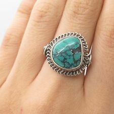 Vtg 925 Sterling Silver Real Turquoise Gemstone Handmade Ring Size 6 3/4