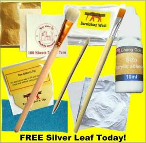 Gold Leaf Kit 100 24K Colour Sheets & Silver Adhesive and Brush. Gilding, Art