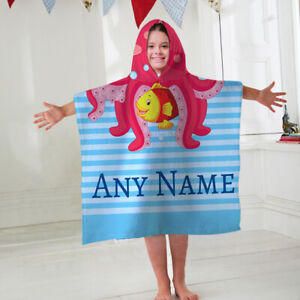 Kids Personalised Hooded Towel Poncho Octopus Fish Childrens Bathrobe Swim