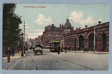 LONDON ROAD LEICESTER with Trams - Unposted Vintage Postcard