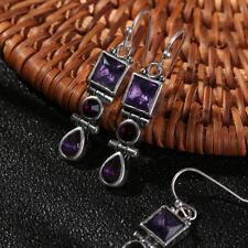 PEAR Drop Square Round GEMSTONE Ear Studs Hook Eardrop Moonstone Earrings